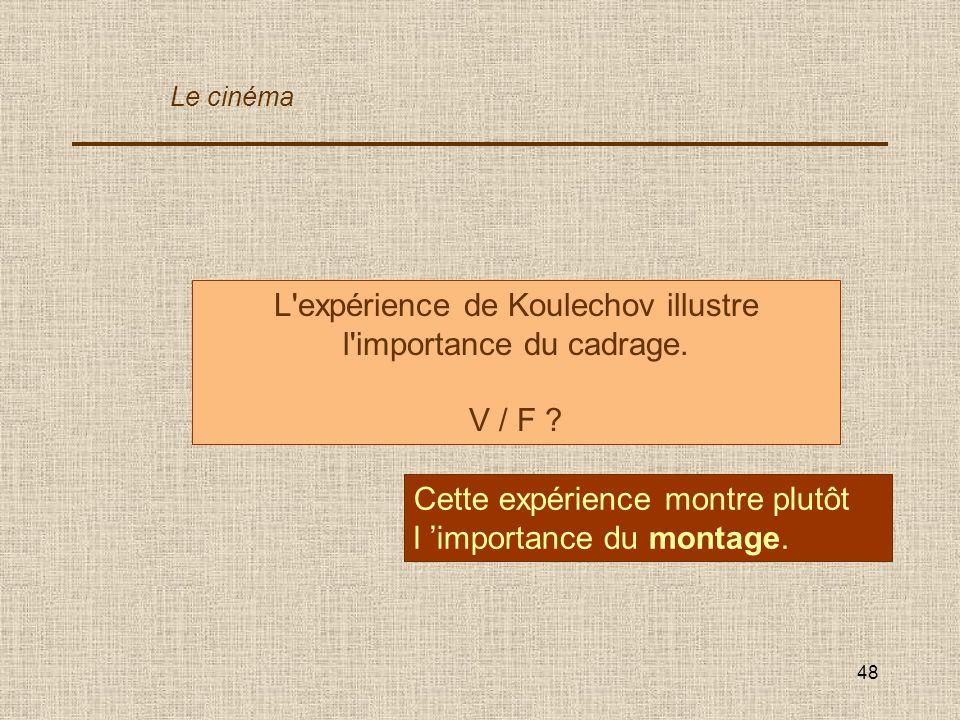 48 L'expérience de Koulechov illustre l'importance du cadrage. V / F ? Cette expérience montre plutôt l importance du montage. Le cinéma