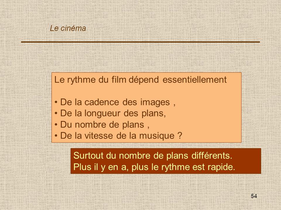 54 Le rythme du film dépend essentiellement De la cadence des images, De la longueur des plans, Du nombre de plans, De la vitesse de la musique ? Surt