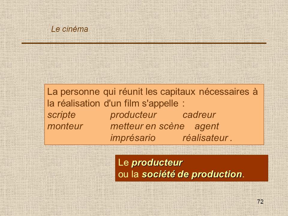 72 La personne qui réunit les capitaux nécessaires à la réalisation d'un film s'appelle : scripteproducteurcadreur monteurmetteur en scèneagent imprés
