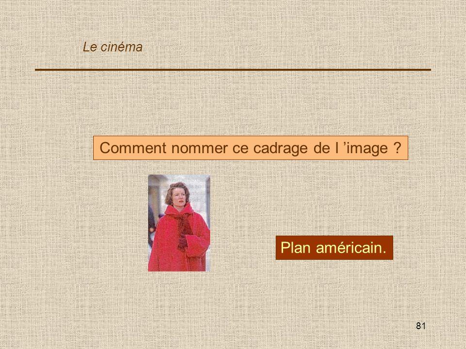 81 Comment nommer ce cadrage de l image ? Plan américain. Le cinéma