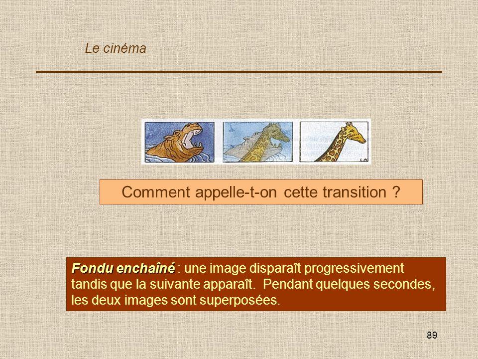 89 Comment appelle-t-on cette transition ? Fondu enchaîné Fondu enchaîné : une image disparaît progressivement tandis que la suivante apparaît. Pendan