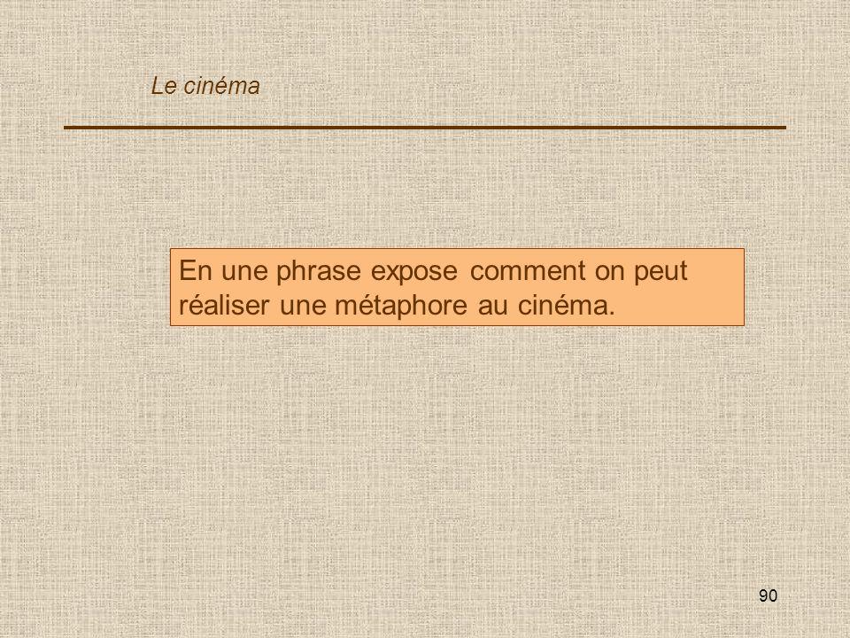 90 En une phrase expose comment on peut réaliser une métaphore au cinéma. Le cinéma
