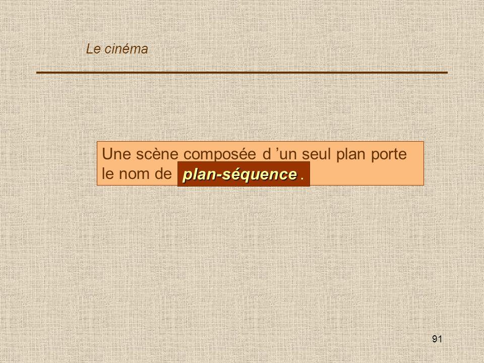 91 Une scène composée d un seul plan porte le nom de... plan-séquence plan-séquence. Le cinéma