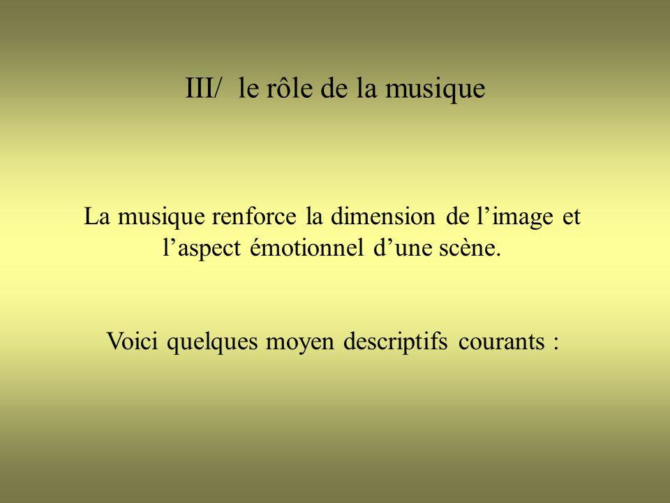 III/ le rôle de la musique La musique renforce la dimension de limage et laspect émotionnel dune scène. Voici quelques moyen descriptifs courants :