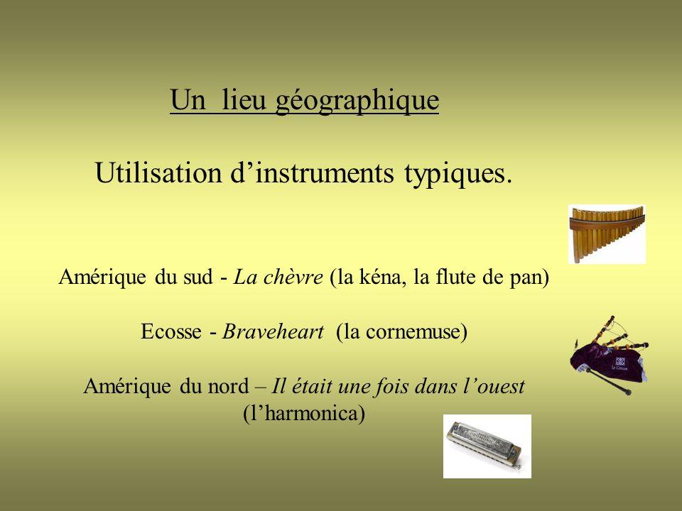 Un lieu géographique Utilisation dinstruments typiques.