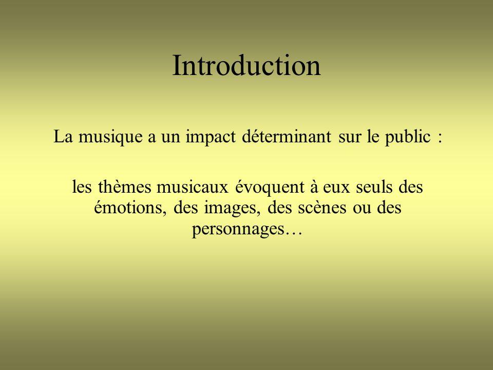 Introduction La musique a un impact déterminant sur le public : les thèmes musicaux évoquent à eux seuls des émotions, des images, des scènes ou des personnages…