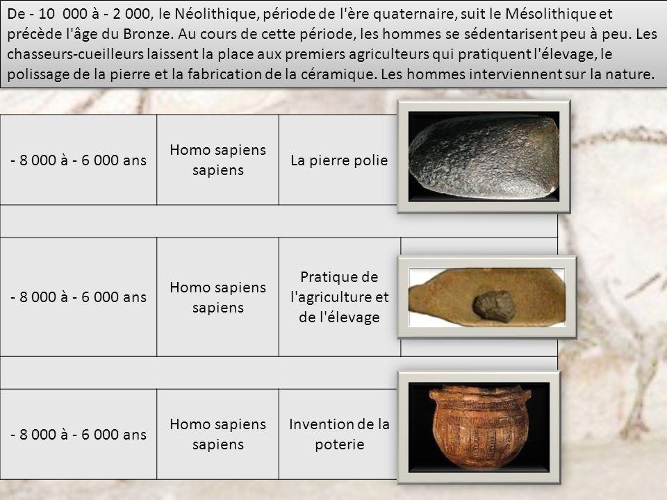 De - 10 000 à - 2 000, le Néolithique, période de l'ère quaternaire, suit le Mésolithique et précède l'âge du Bronze. Au cours de cette période, les h