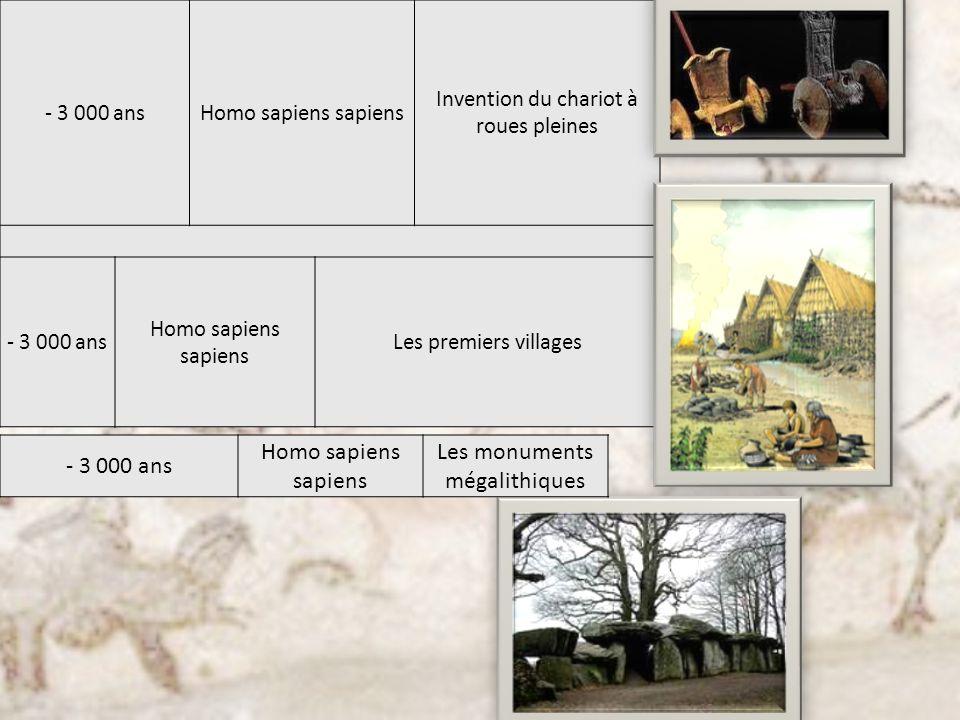 - 3 000 ansHomo sapiens sapiens Invention du chariot à roues pleines - 3 000 ans Homo sapiens sapiens Les premiers villages - 3 000 ans Homo sapiens s