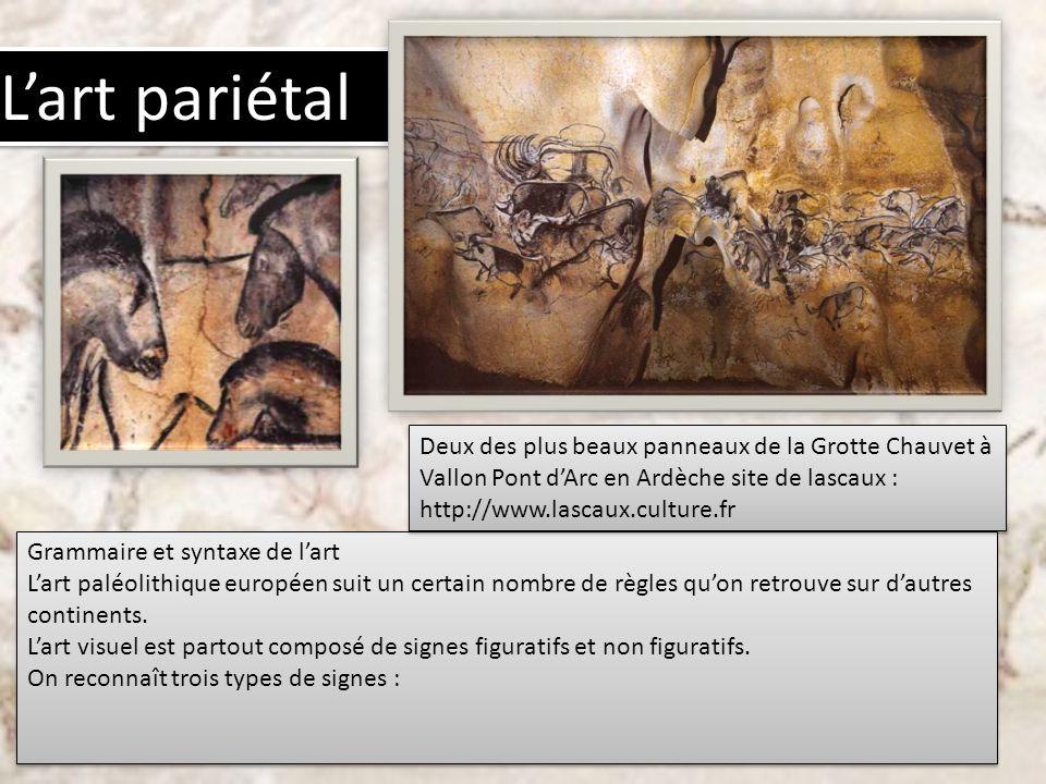 Grammaire et syntaxe de lart Lart paléolithique européen suit un certain nombre de règles quon retrouve sur dautres continents. Lart visuel est partou
