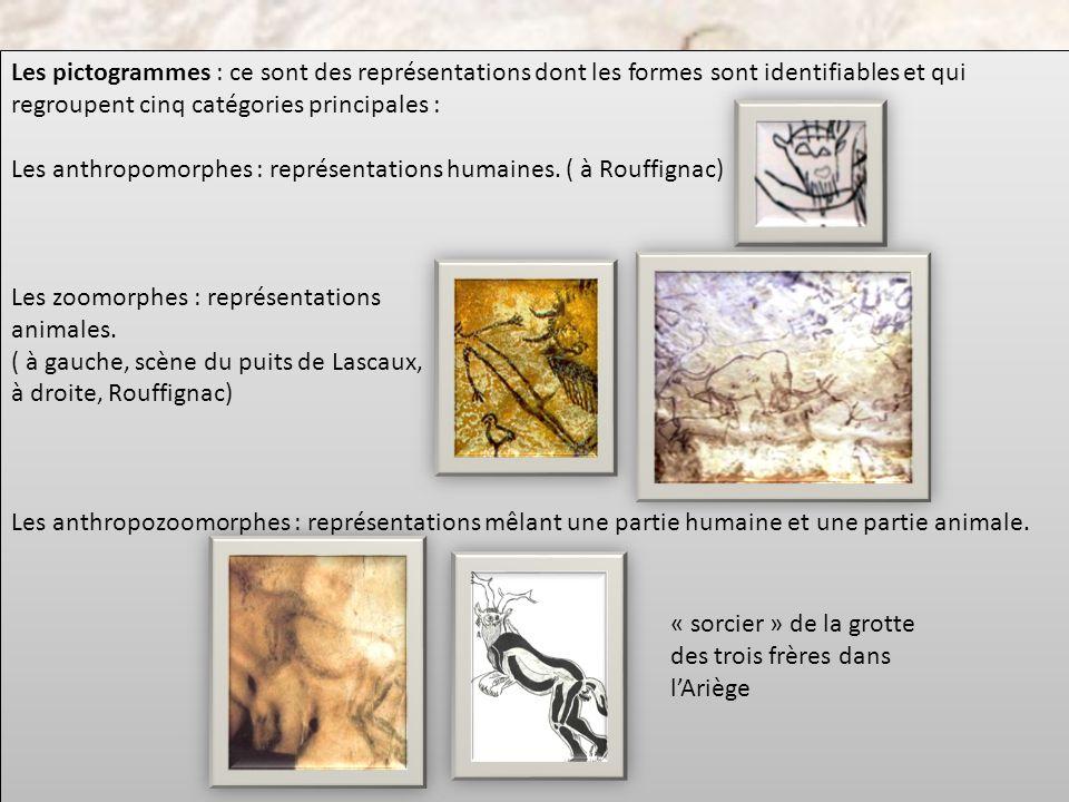 Les pictogrammes : ce sont des représentations dont les formes sont identifiables et qui regroupent cinq catégories principales : Les anthropomorphes