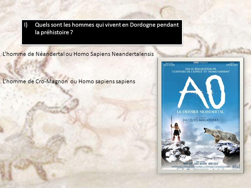 I)Quels sont les hommes qui vivent en Dordogne pendant la préhistoire ? Lhomme de Néandertal ou Homo Sapiens Neandertalensis Lhomme de Cro-Magnon ou H