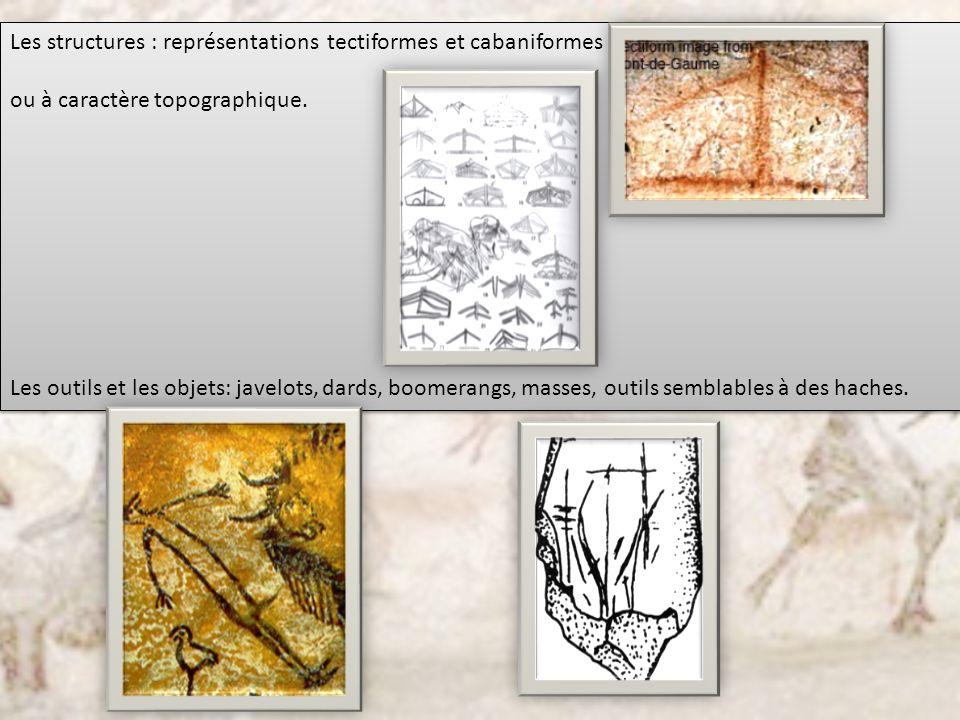 Les structures : représentations tectiformes et cabaniformes ou à caractère topographique. Les outils et les objets: javelots, dards, boomerangs, mass