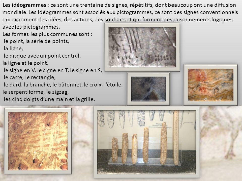 Les idéogrammes : ce sont une trentaine de signes, répétitifs, dont beaucoup ont une diffusion mondiale. Les idéogrammes sont associés aux pictogramme