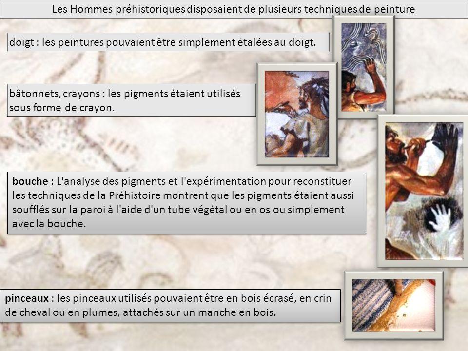 Les Hommes préhistoriques disposaient de plusieurs techniques de peinture doigt : les peintures pouvaient être simplement étalées au doigt. bâtonnets,
