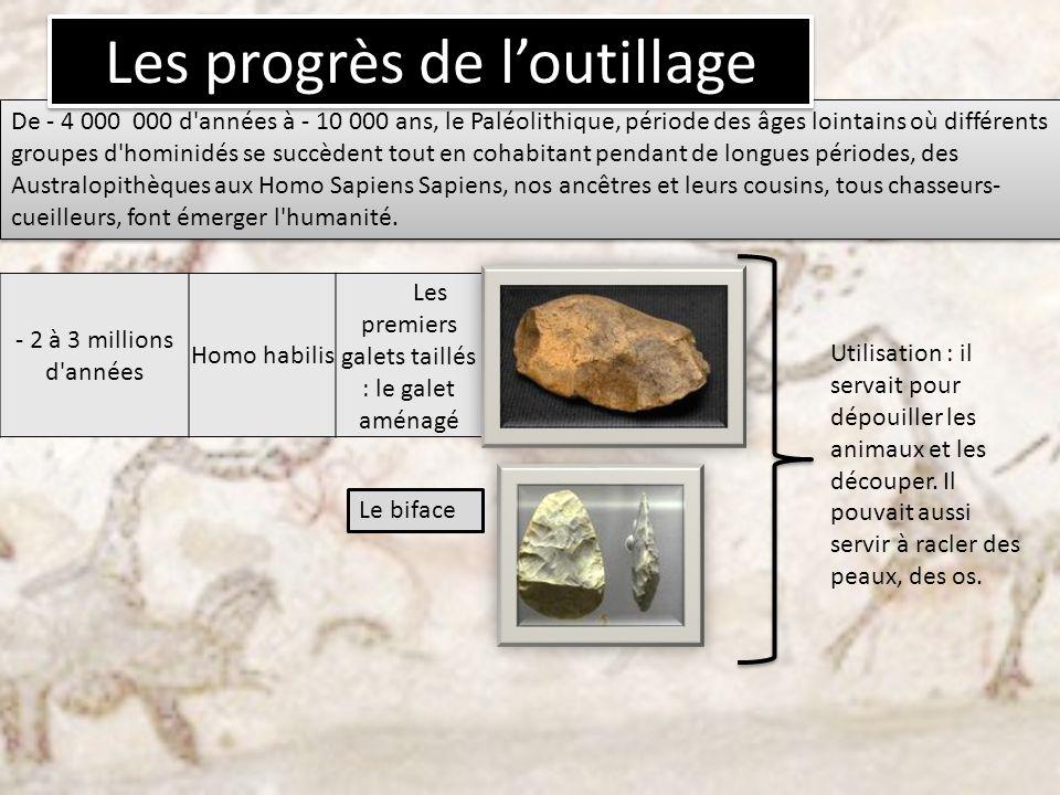 - 2 à 3 millions d'années Homo habilis Les premiers galets taillés : le galet aménagé Le biface Utilisation : il servait pour dépouiller les animaux e