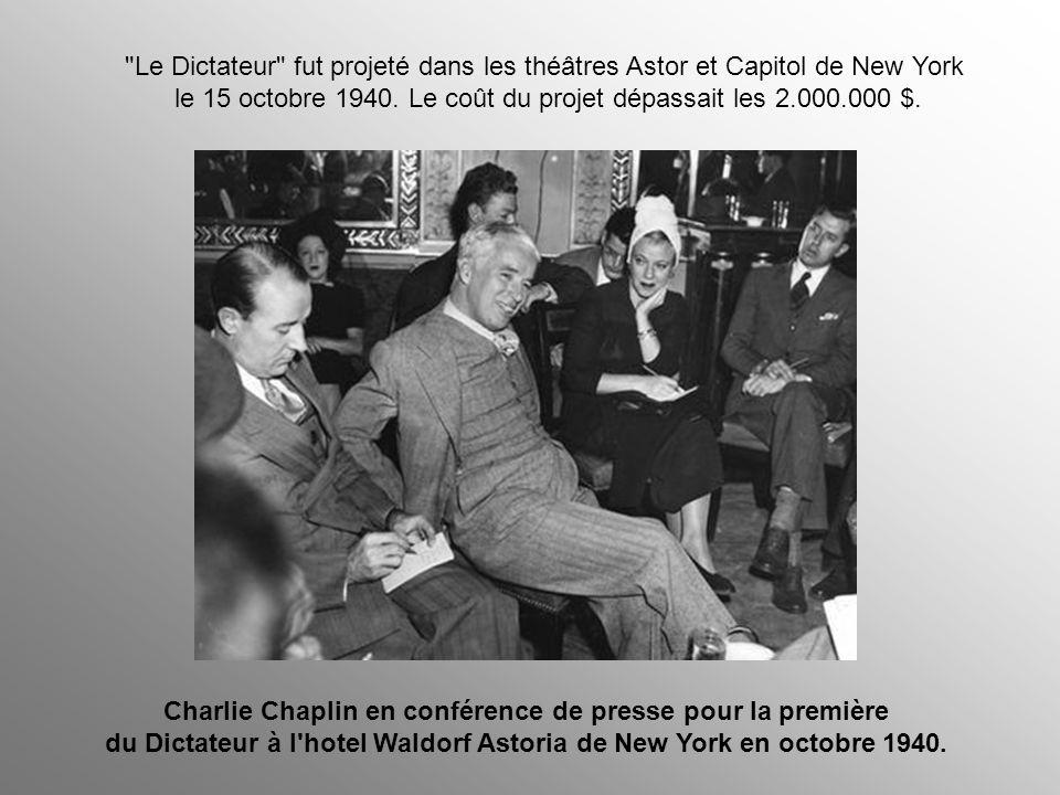 Harry Hopkins, conseiller de Roosevelt, avait lancé à Chaplin un avertissement sérieux, quoique déguisé, lui prédisant que la publicité du Dictateur l
