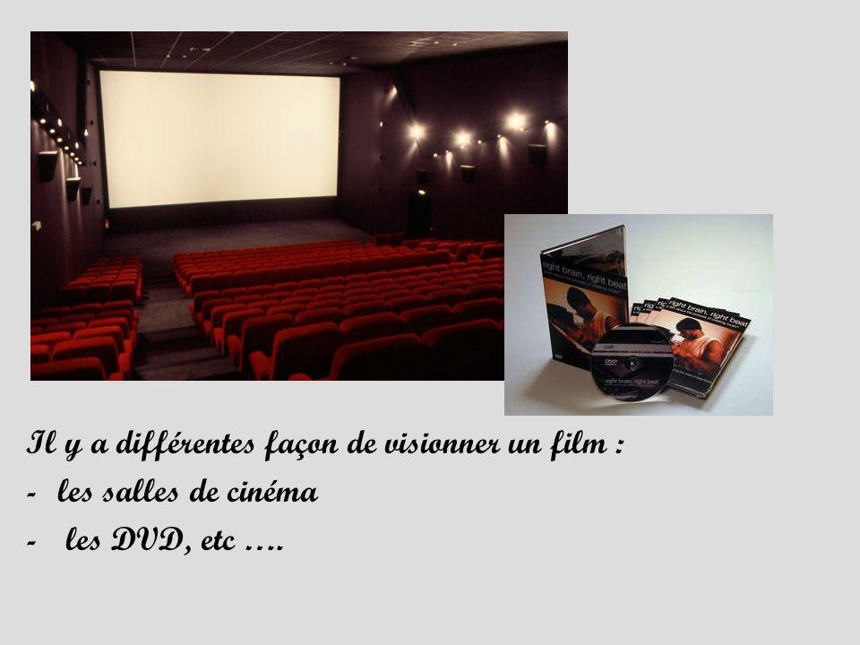 Il y a différentes façon de visionner un film : -les salles de cinéma - les DVD, etc ….