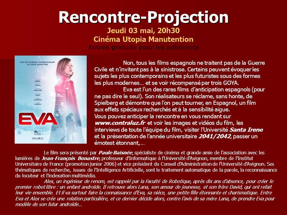 Rencontre-Projection Rencontre-Projection Jeudi 03 mai, 20h30 Cinéma Utopia Manutention Entrée gratuite pour les adhérents Non, tous les films espagnols ne traitent pas de la Guerre Civile et ninvitent pas à la sinistrose.