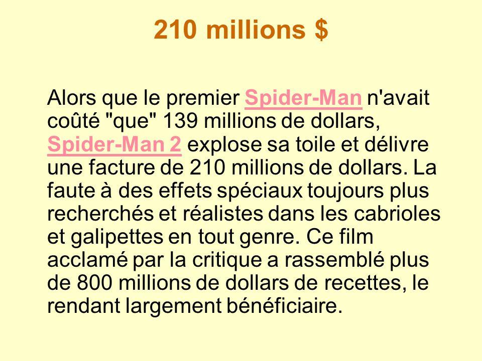 210 millions $ Alors que le premier Spider-Man n'avait coûté