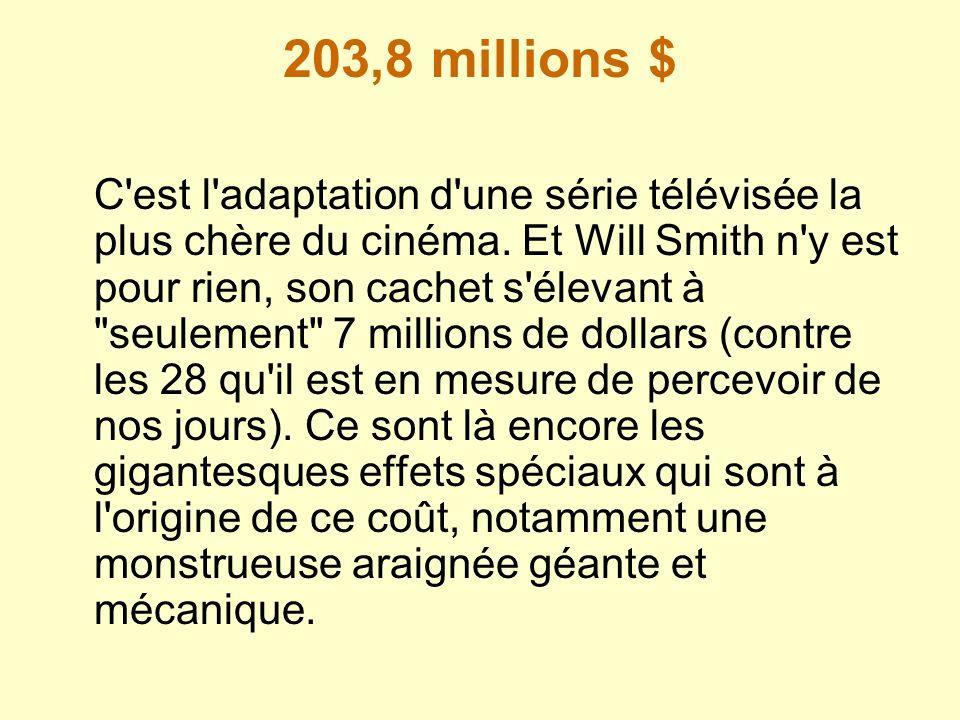 203,8 millions $ C'est l'adaptation d'une série télévisée la plus chère du cinéma. Et Will Smith n'y est pour rien, son cachet s'élevant à