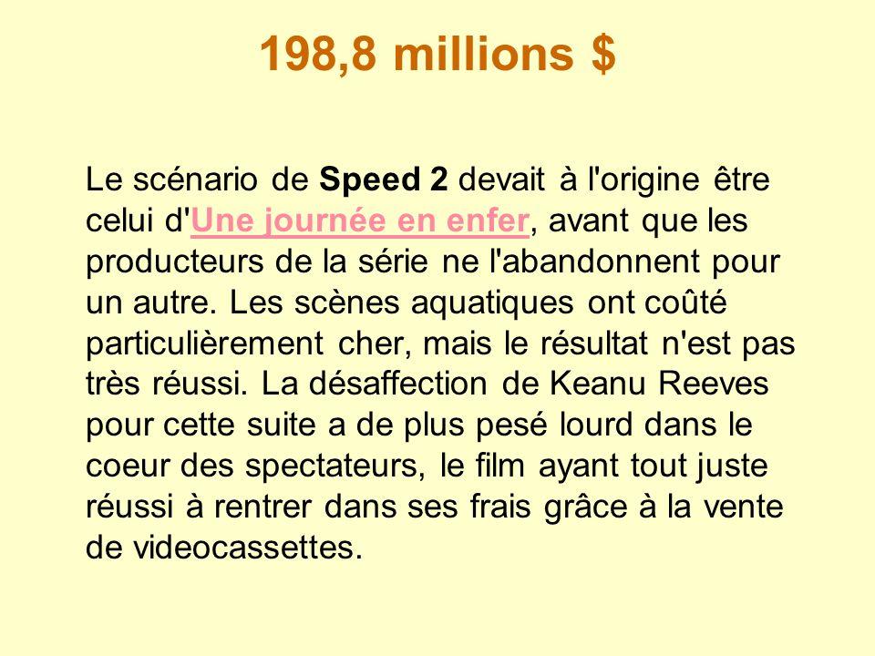 198,8 millions $ Le scénario de Speed 2 devait à l'origine être celui d'Une journée en enfer, avant que les producteurs de la série ne l'abandonnent p