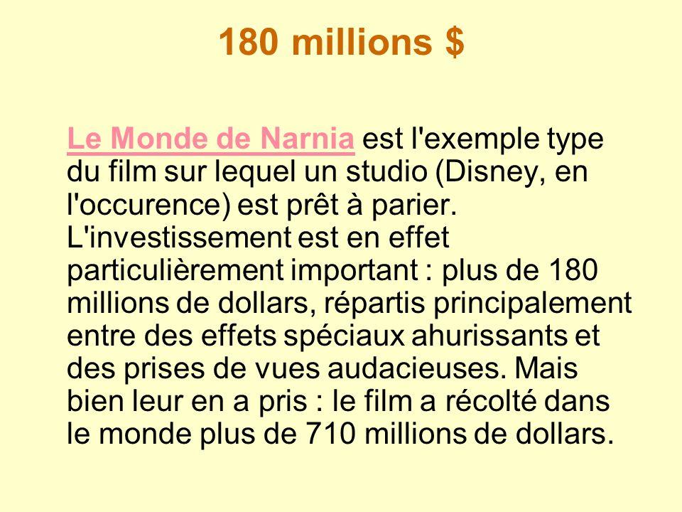 180 millions $ Le Monde de NarniaLe Monde de Narnia est l'exemple type du film sur lequel un studio (Disney, en l'occurence) est prêt à parier. L'inve