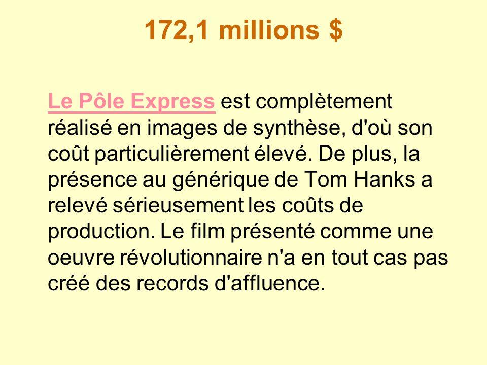 172,1 millions $ Le Pôle ExpressLe Pôle Express est complètement réalisé en images de synthèse, d'où son coût particulièrement élevé. De plus, la prés