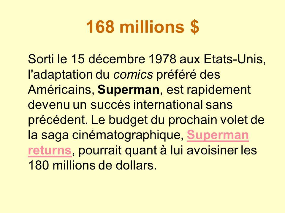 168 millions $ Sorti le 15 décembre 1978 aux Etats-Unis, l'adaptation du comics préféré des Américains, Superman, est rapidement devenu un succès inte