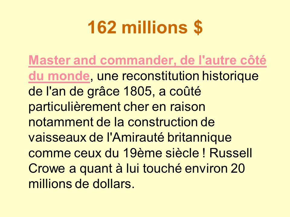 162 millions $ Master and commander, de l'autre côté du mondeMaster and commander, de l'autre côté du monde, une reconstitution historique de l'an de