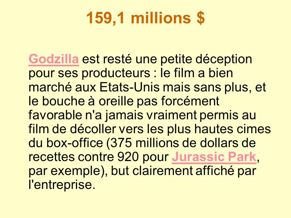 159,1 millions $ GodzillaGodzilla est resté une petite déception pour ses producteurs : le film a bien marché aux Etats-Unis mais sans plus, et le bou