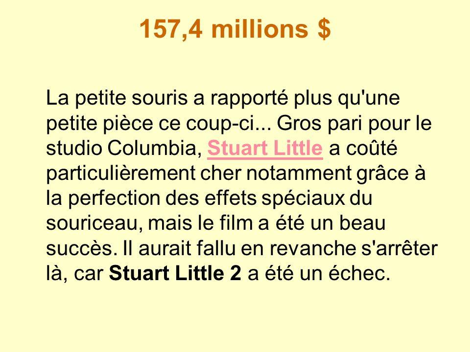 157,4 millions $ La petite souris a rapporté plus qu'une petite pièce ce coup-ci... Gros pari pour le studio Columbia, Stuart Little a coûté particuli