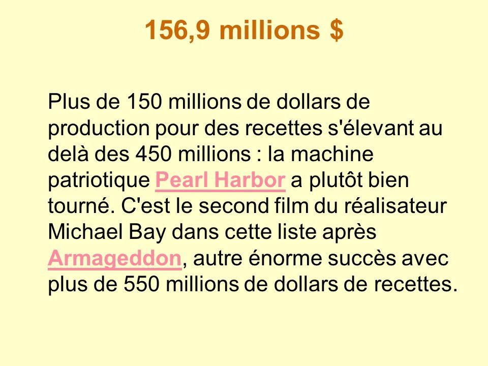 156,9 millions $ Plus de 150 millions de dollars de production pour des recettes s'élevant au delà des 450 millions : la machine patriotique Pearl Har