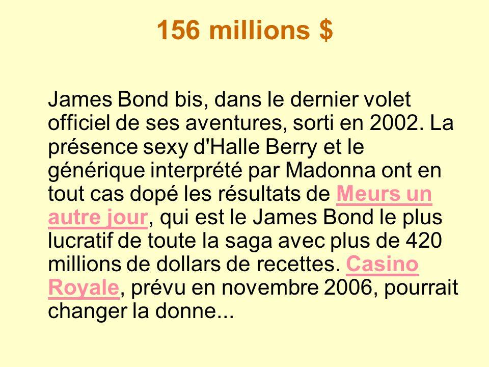 156 millions $ James Bond bis, dans le dernier volet officiel de ses aventures, sorti en 2002. La présence sexy d'Halle Berry et le générique interpré