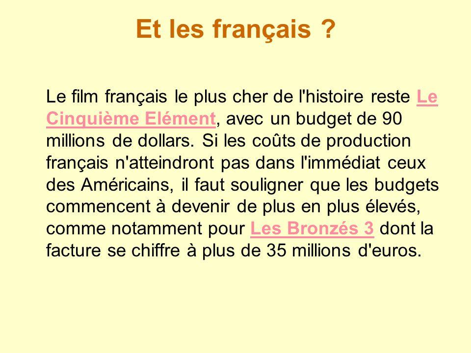 Et les français ? Le film français le plus cher de l'histoire reste Le Cinquième Elément, avec un budget de 90 millions de dollars. Si les coûts de pr