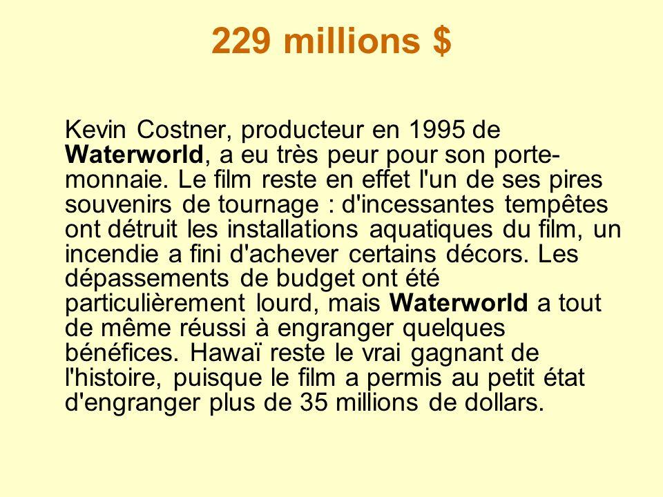 229 millions $ Kevin Costner, producteur en 1995 de Waterworld, a eu très peur pour son porte- monnaie. Le film reste en effet l'un de ses pires souve