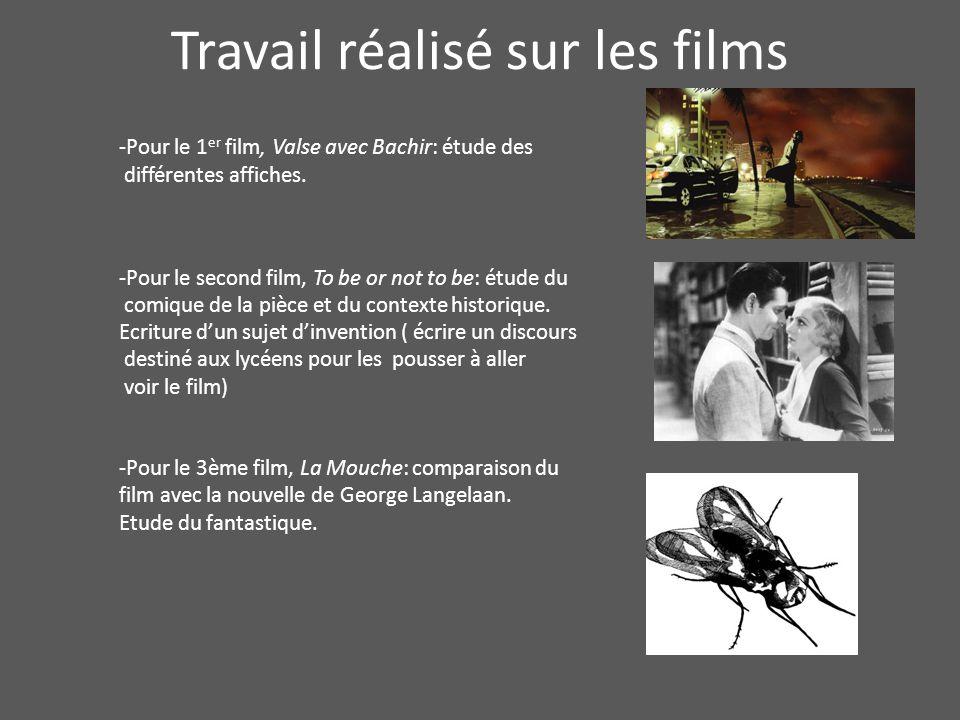 Travail réalisé sur les films -Pour le 1 er film, Valse avec Bachir: étude des différentes affiches. -Pour le second film, To be or not to be: étude d