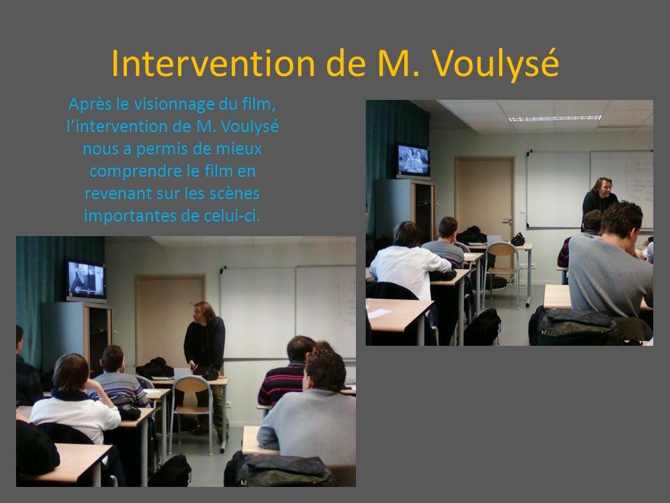 Intervention de M. Voulysé Après le visionnage du film, lintervention de M. Voulysé nous a permis de mieux comprendre le film en revenant sur les scèn