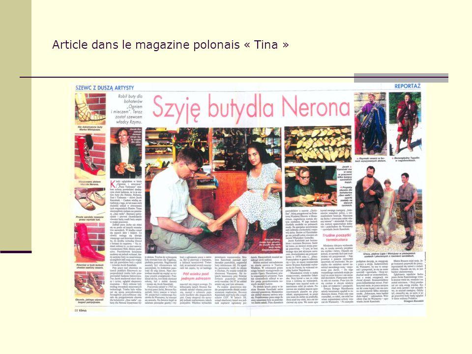 Article dans le magazine polonais « Tina »