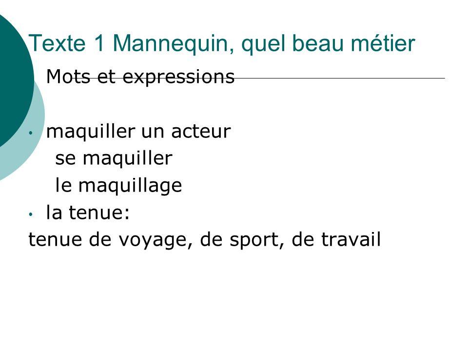 Texte 1 Mannequin, quel beau métier Mots et expressions maquiller un acteur se maquiller le maquillage la tenue: tenue de voyage, de sport, de travail
