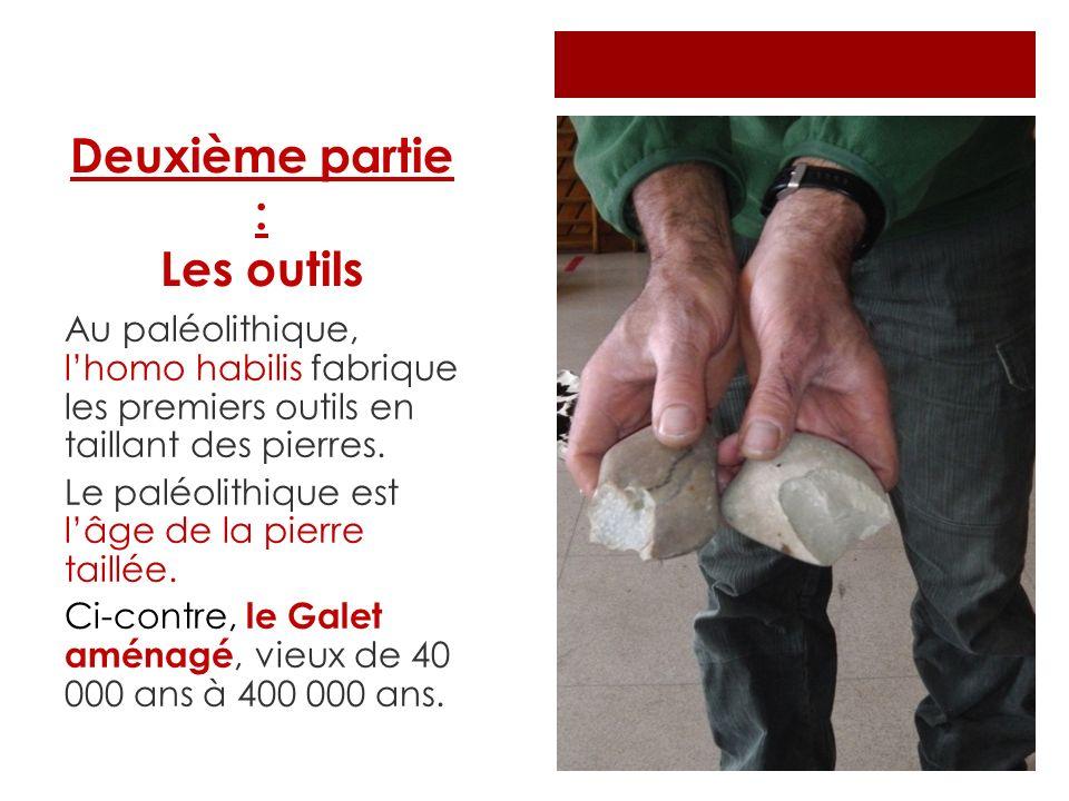 Deuxième partie : Les outils Au paléolithique, lhomo habilis fabrique les premiers outils en taillant des pierres. Le paléolithique est lâge de la pie
