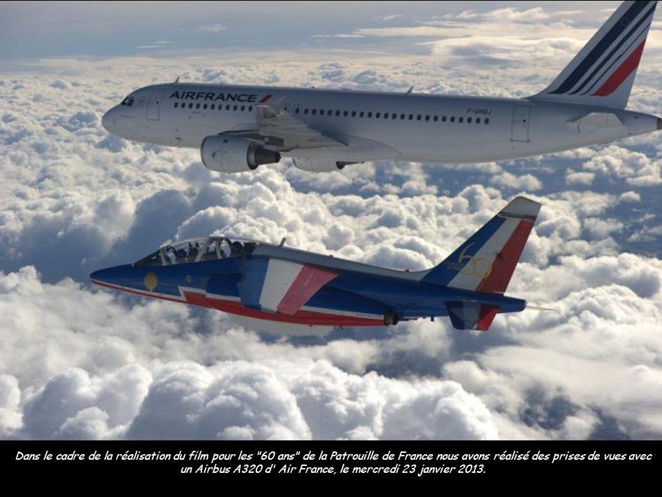 Dans le cadre de la réalisation du film pour les 60 ans de la Patrouille de France nous avons réalisé des prises de vues avec un Airbus A320 d Air France, le mercredi 23 janvier 2013.