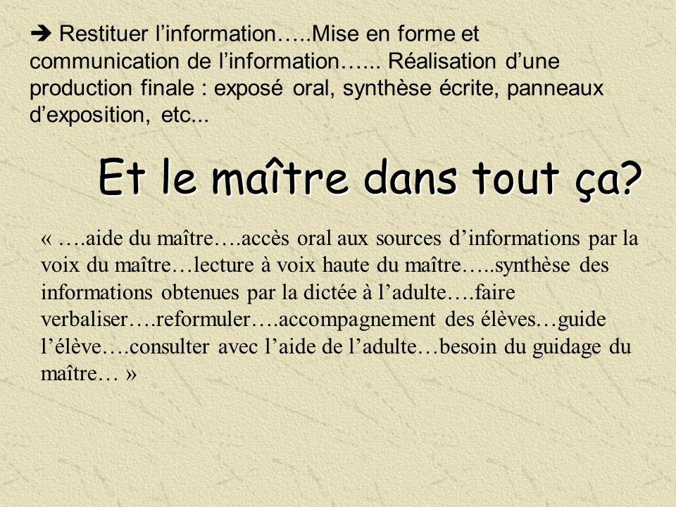 Restituer linformation…..Mise en forme et communication de linformation…... Réalisation dune production finale : exposé oral, synthèse écrite, panneau