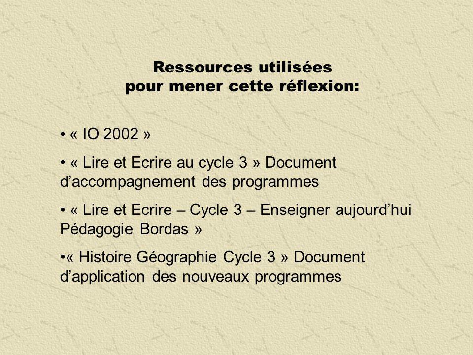 Ressources utilisées pour mener cette réflexion: « IO 2002 » « Lire et Ecrire au cycle 3 » Document daccompagnement des programmes « Lire et Ecrire –
