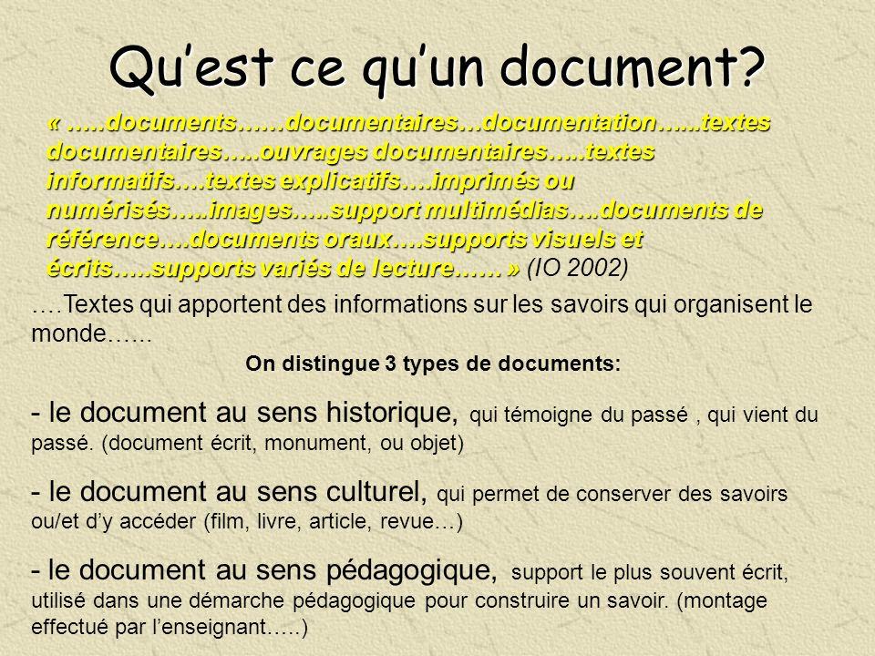 Quest ce quun document? « …..documents……documentaires…documentation…...textes documentaires…..ouvrages documentaires…..textes informatifs….textes expl