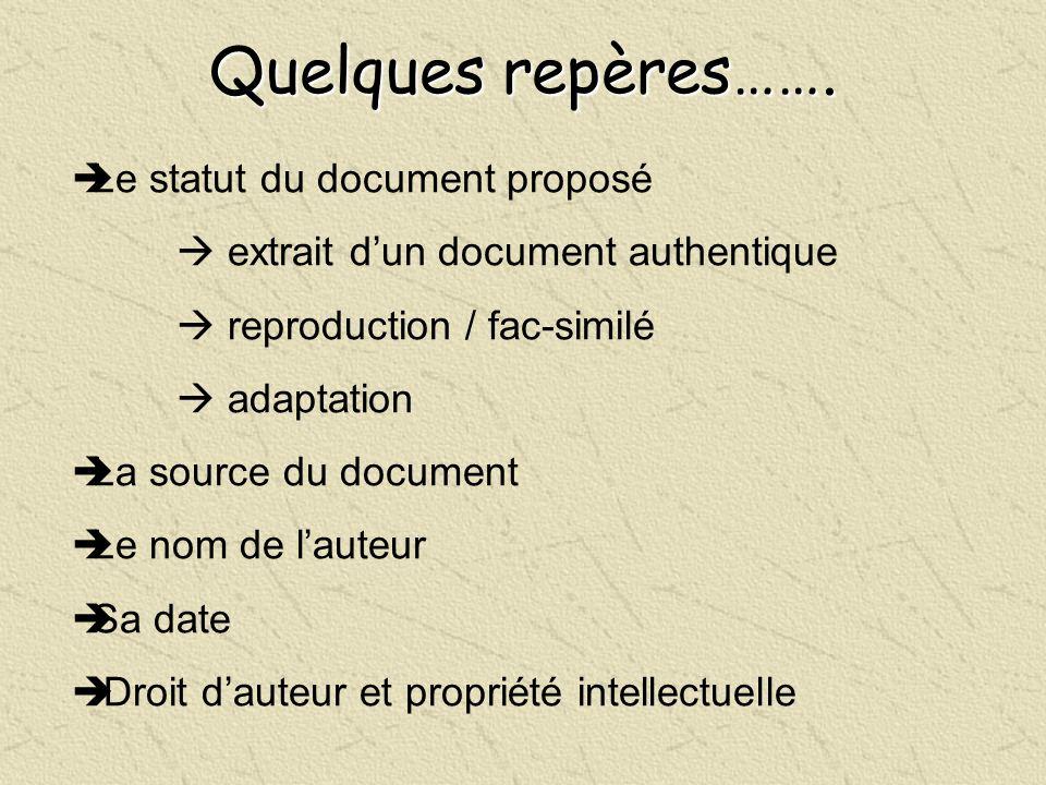 Quelques repères……. Le statut du document proposé extrait dun document authentique reproduction / fac-similé adaptation La source du document Le nom d