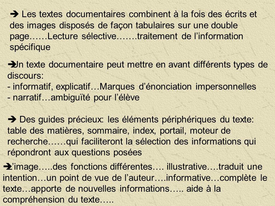Les textes documentaires combinent à la fois des écrits et des images disposés de façon tabulaires sur une double page……Lecture sélective…….traitement