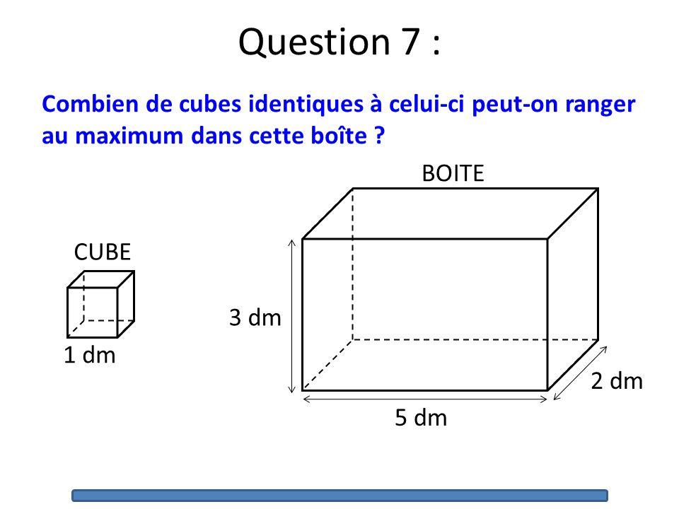 Quelle est laire du triangle ABC ? Question 6 : B A C 6 cm 3 cm