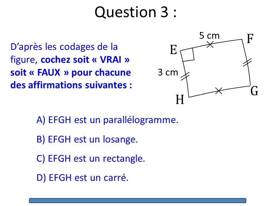 A) EFGH est un parallélogramme.B) EFGH est un losange.