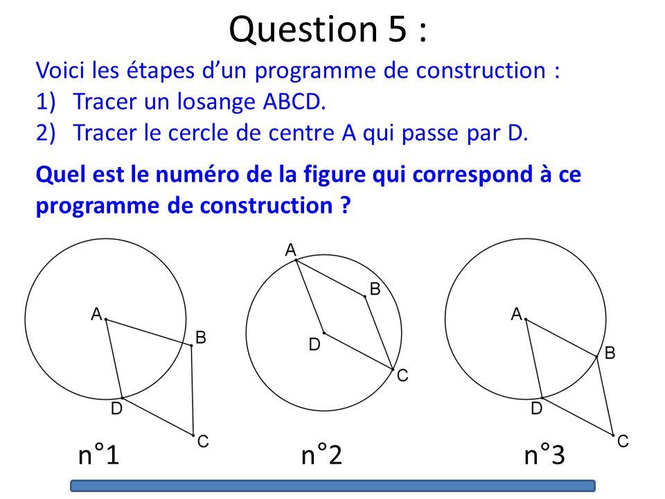 Question 5 : Voici les étapes dun programme de construction : 1)Tracer un losange ABCD.