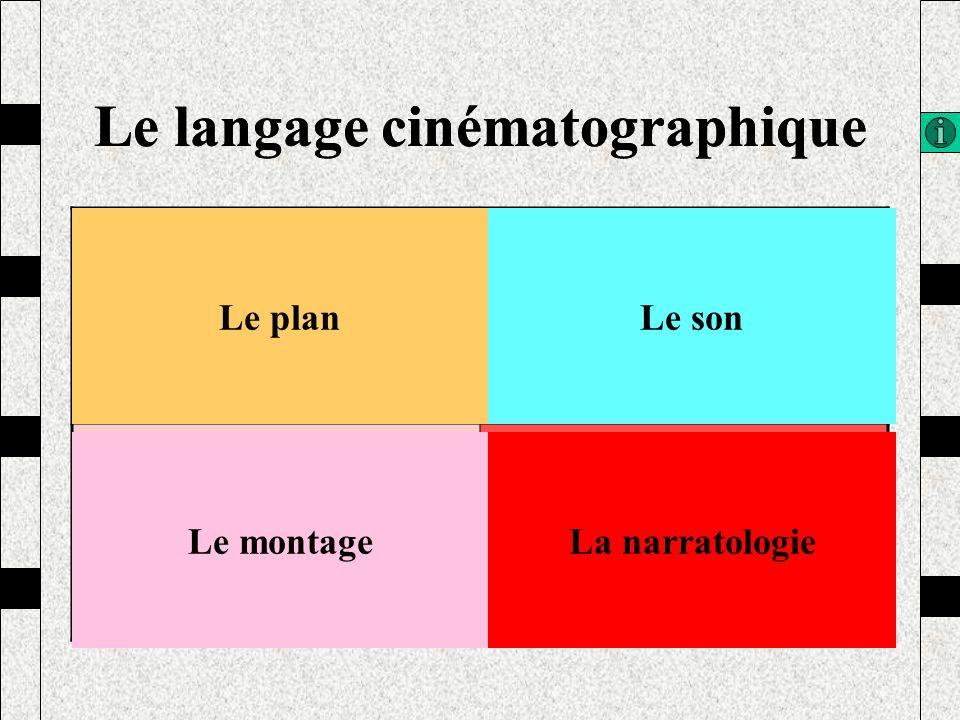 Le langage cinématographique Le planLe son Le montageLa narratologie Le langage cinématographique Le planLe son Le montageLa narratologie
